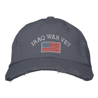 Iraq War Vet with American Flag Embroidered Hats