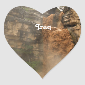 Iraq Waterfall Heart Sticker