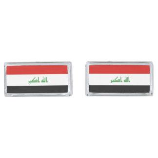Iraqi Flag Silver Finish Cuff Links