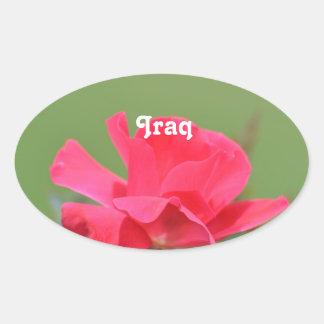 Iraqi Rose Oval Sticker