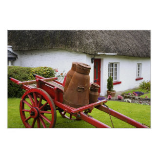 Ireland, Adare. Metal containers on cart and Poster