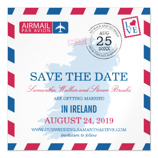 Ireland Airmail Save the Date Magnetic Card