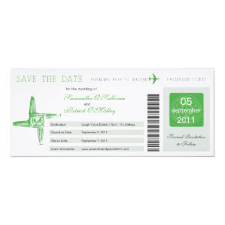 Ireland Boarding Pass Wedding Save the Date 10 Cm X 24 Cm Invitation Card