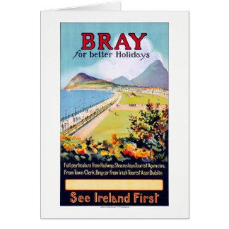 Ireland Bray Vintage Travel Poster Restored Card