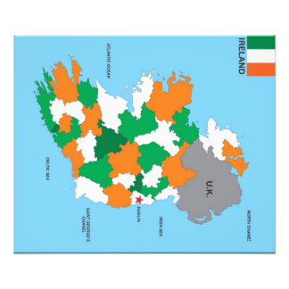 ireland country political map flag photo