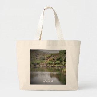 Ireland, County Cork, Lake, Swans, Photography Large Tote Bag