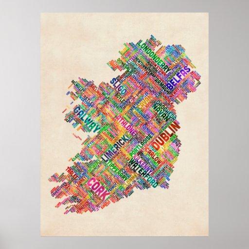 Ireland Eire City Text map Print