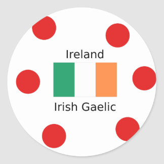 Ireland Flag And Irish Gaelic Language Design Classic Round Sticker
