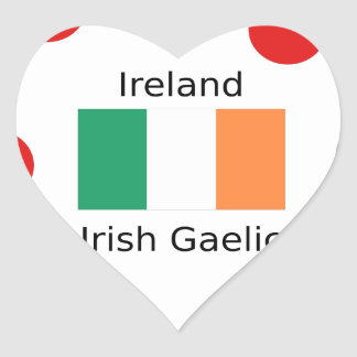 Ireland Flag And Irish Gaelic Language Design Heart Sticker