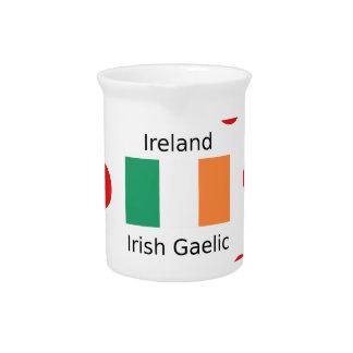 Ireland Flag And Irish Gaelic Language Design Pitcher