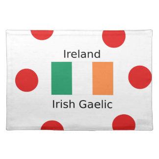 Ireland Flag And Irish Gaelic Language Design Placemat