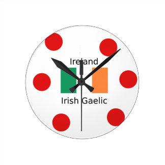 Ireland Flag And Irish Gaelic Language Design Round Clock