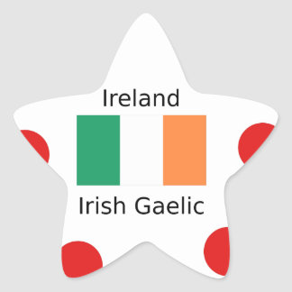 Ireland Flag And Irish Gaelic Language Design Star Sticker