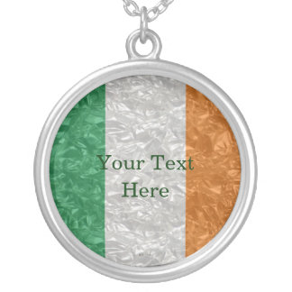 Ireland Flag - Crinkled Silver Plated Necklace