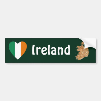 Ireland Flag Heart + Map Bumper Sticker