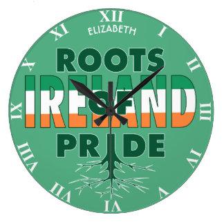 Ireland Flag Irish Pride Roots Of Pride Proud Large Clock