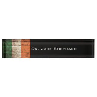 Ireland Flag on Old Wood Grain Name Plate
