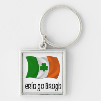 Ireland Forever Erin Go Bragh Irish Saying Silver-Colored Square Key Ring