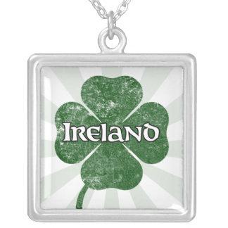 Ireland Grunge Clover Necklace dark