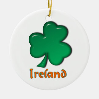 Ireland Irish Shamrock St. Patrick Round Ceramic Decoration
