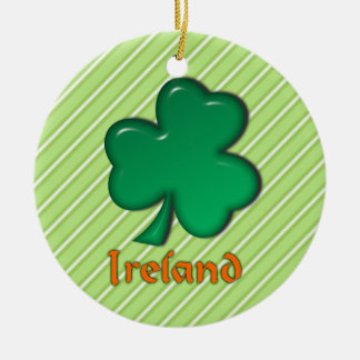 Ireland Irish Shamrock St. Patrick Stripes Round Ceramic Decoration