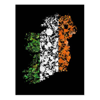 Ireland map & flag patriotic splatter painting postcard