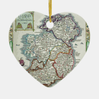Ireland Map - Irish Eire Erin Historic Map Ceramic Ornament