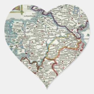 Ireland Map - Irish Eire Erin Historic Map Heart Sticker
