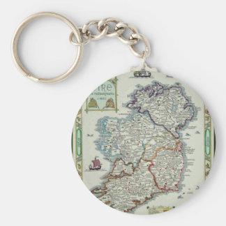 Ireland Map - Irish Eire Erin Historic Map Key Ring