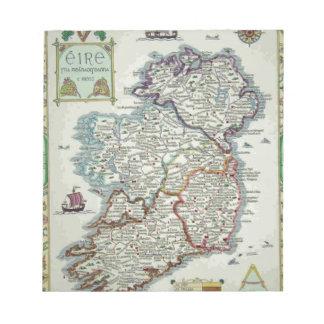 Ireland Map - Irish Eire Erin Historic Map Notepads