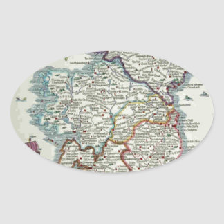 Ireland Map - Irish Eire Erin Historic Map Oval Sticker