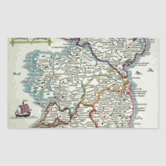 Ireland Map - Irish Eire Erin Historic Map Rectangular Sticker