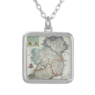 Ireland Map - Irish Eire Erin Historic Map Silver Plated Necklace