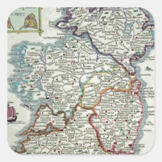 Ireland Map - Irish Eire Erin Historic Map Square Sticker