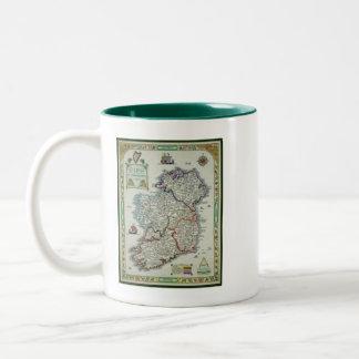 Ireland Map - Irish Eire Erin Historic Map Two-Tone Coffee Mug