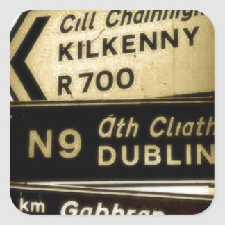 Ireland Roadside Signs Square Sticker