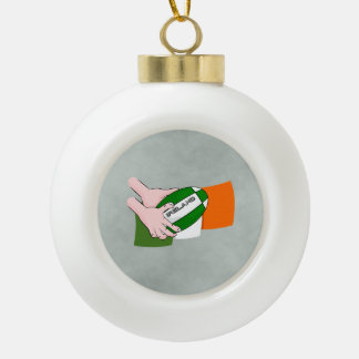 Ireland Rugby Team Supporters Flag With Ball Ceramic Ball Christmas Ornament