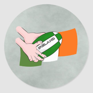 Ireland Rugby Team Supporters Flag With Ball Classic Round Sticker