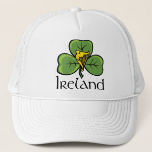 91e03183c Ireland Shamrock and Harp Trucker Hat
