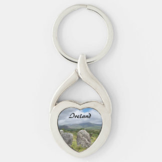 Ireland Stone Circle SW Cork Silver-Colored Twisted Heart Key Ring