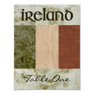 Ireland Table Number Poster