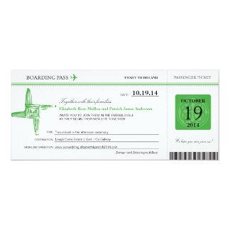 Ireland Wedding Boarding Pass 10 Cm X 24 Cm Invitation Card