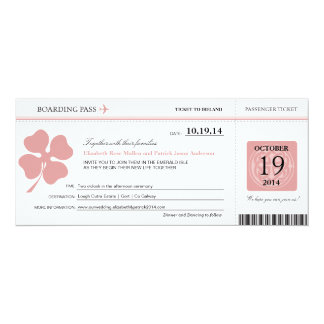 Ireland Wedding Boarding Pass Card