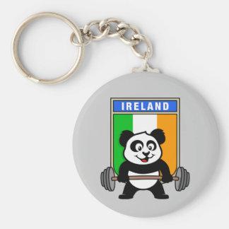 Ireland Weightlifting Panda Basic Round Button Key Ring
