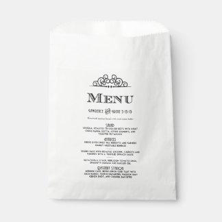Irene's Menu Favor Bags
