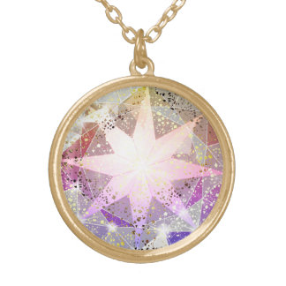 Iridescence Pink Lavender Compass Rhinestone Gold Plated Necklace