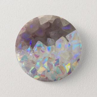 Iridescent Aura Crystals 6 Cm Round Badge