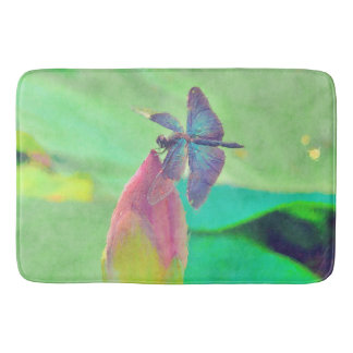 Iridescent Blue Dragonfly on Waterlily Bath Mat