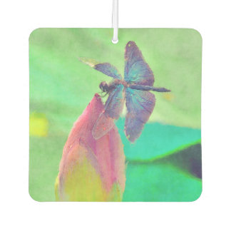 Iridescent Blue Dragonfly on Waterlily Car Air Freshener