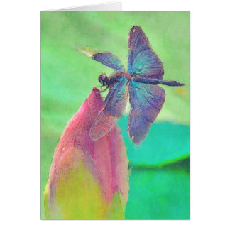 Iridescent Blue Dragonfly on Waterlily Card